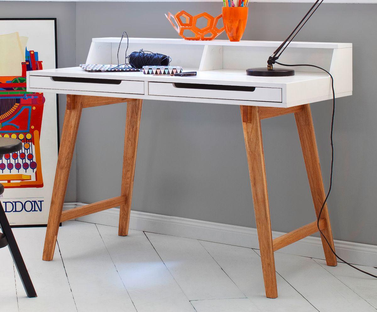 Schreibtisch weiss matt Lack und Massivholz 110 cm