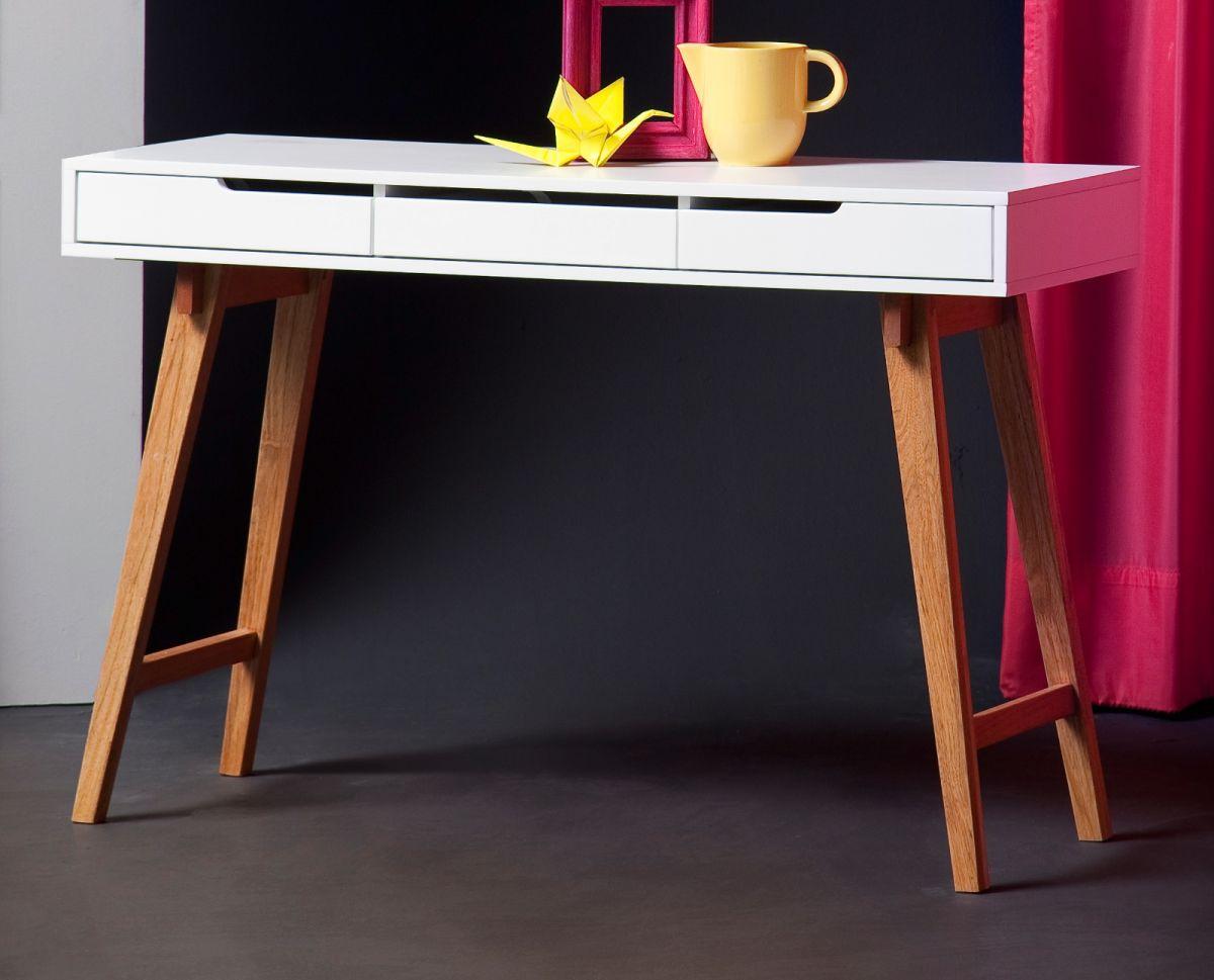 Schreibtisch weiss matt Lack und Massivholz 120 cm
