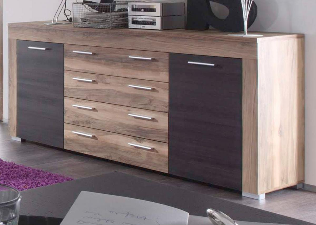 Sideboard Boom in Nussbaum Satin und Touchwood dunkelbraun 176 cm