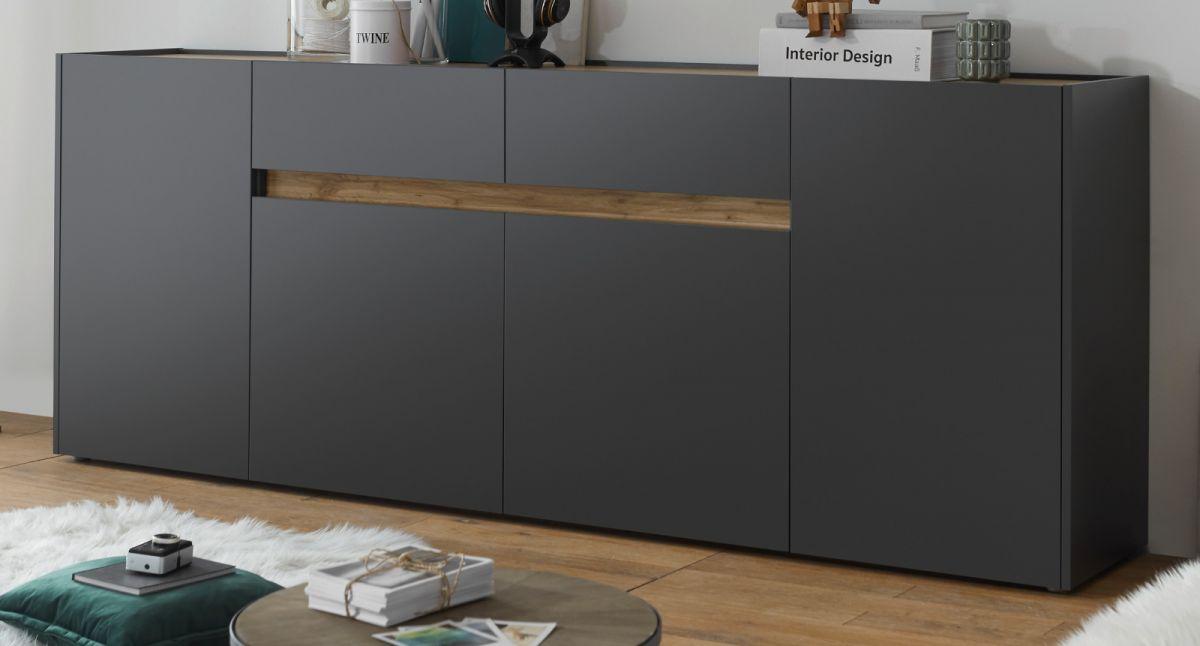 Sideboard Center in grau matt und Eiche Wotan 220 cm