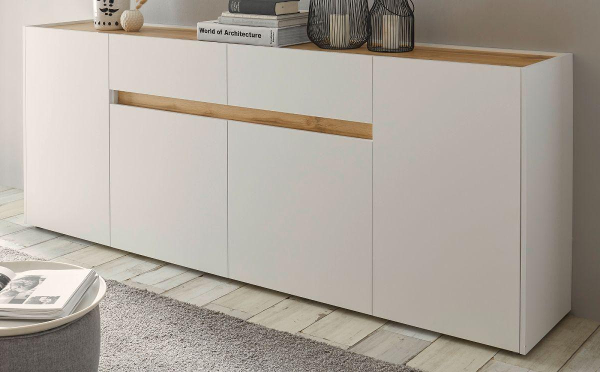 Sideboard Center in weiss und Eiche Wotan 220 cm