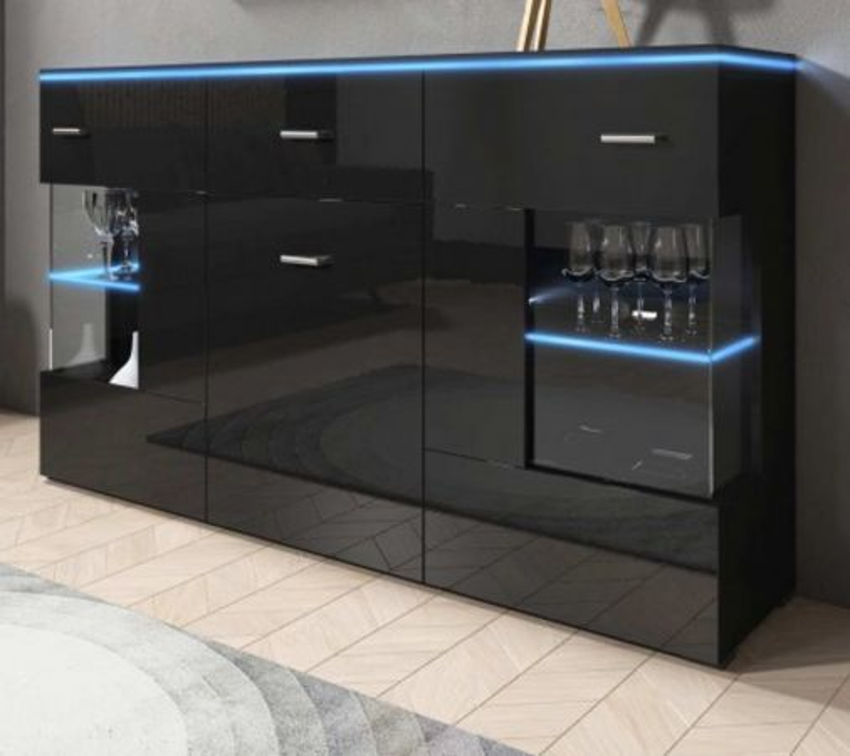 Sideboard Charme Hochglanz schwarz 150 cm