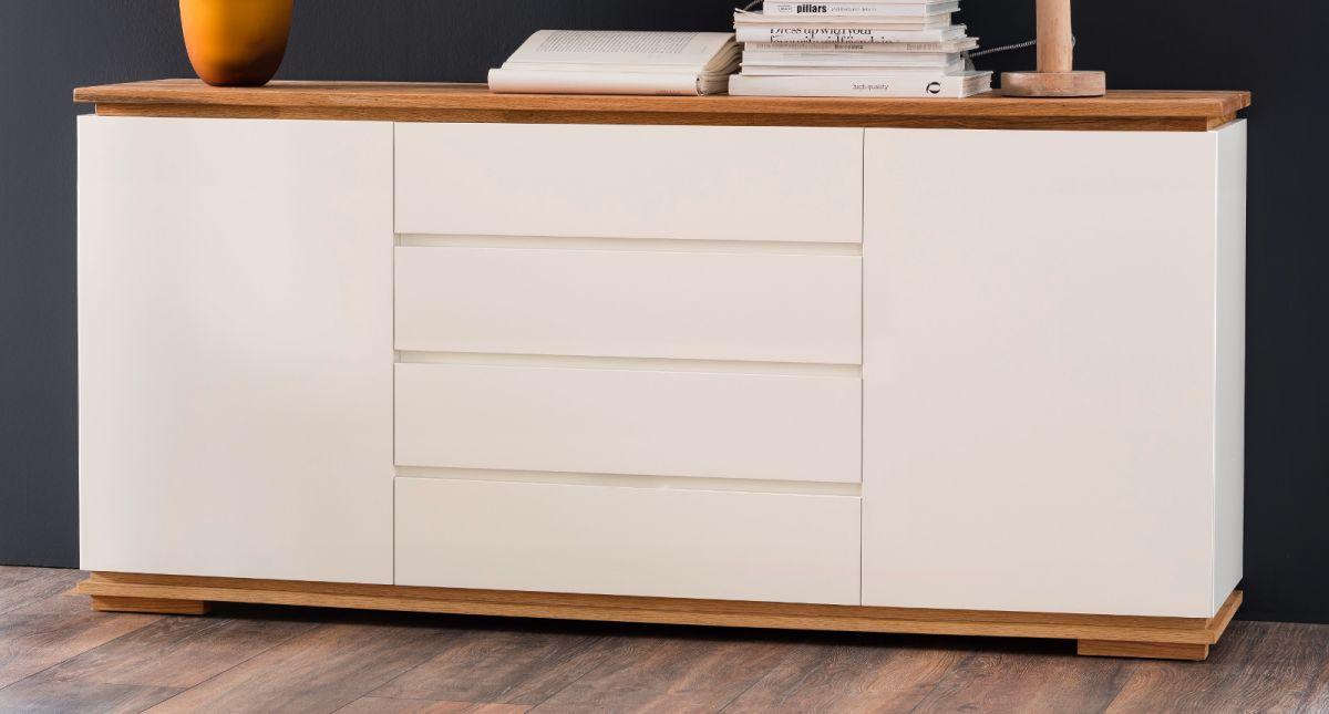 Sideboard Chiaro matt weiss Lack und Eiche - Asteiche massiv 172 x 81 cm