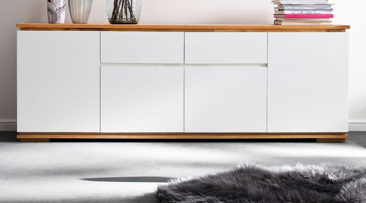 Sideboard Chiaro matt weiss Lack und Eiche - Asteiche massiv 182 x 81 cm
