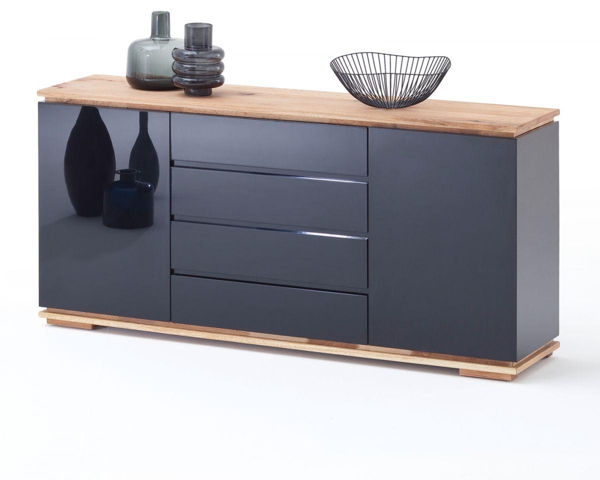 Sideboard Chiaro schwarz Hochglanz Lack und Eiche - Asteiche massiv 172 x 81 cm
