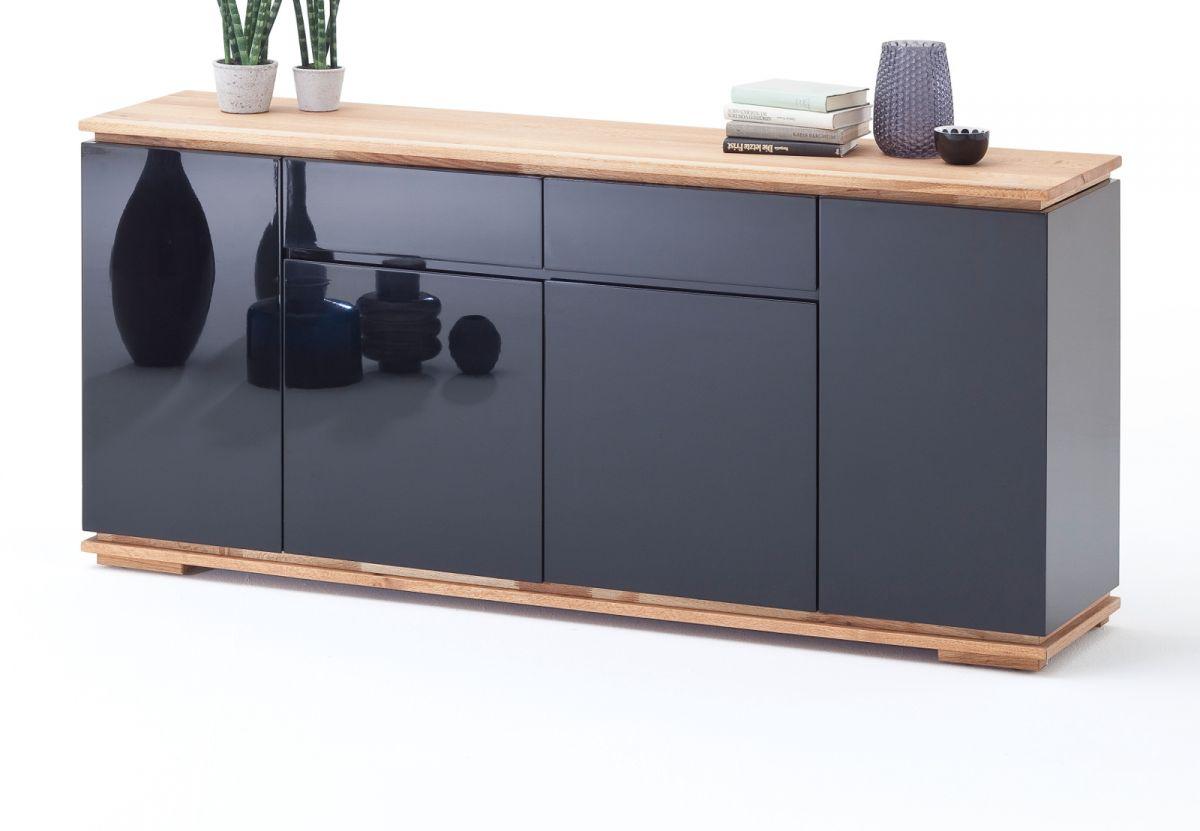 Sideboard Chiaro schwarz Hochglanz Lack und Eiche - Asteiche massiv 182 x 81 cm