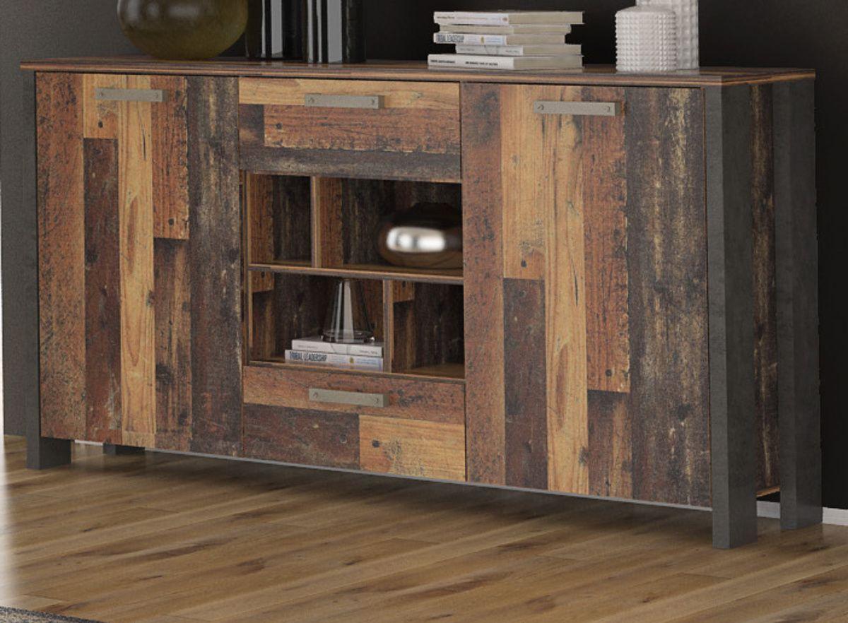 Sideboard Clif Old Used Wood Shabby und Beton grau 156 cm