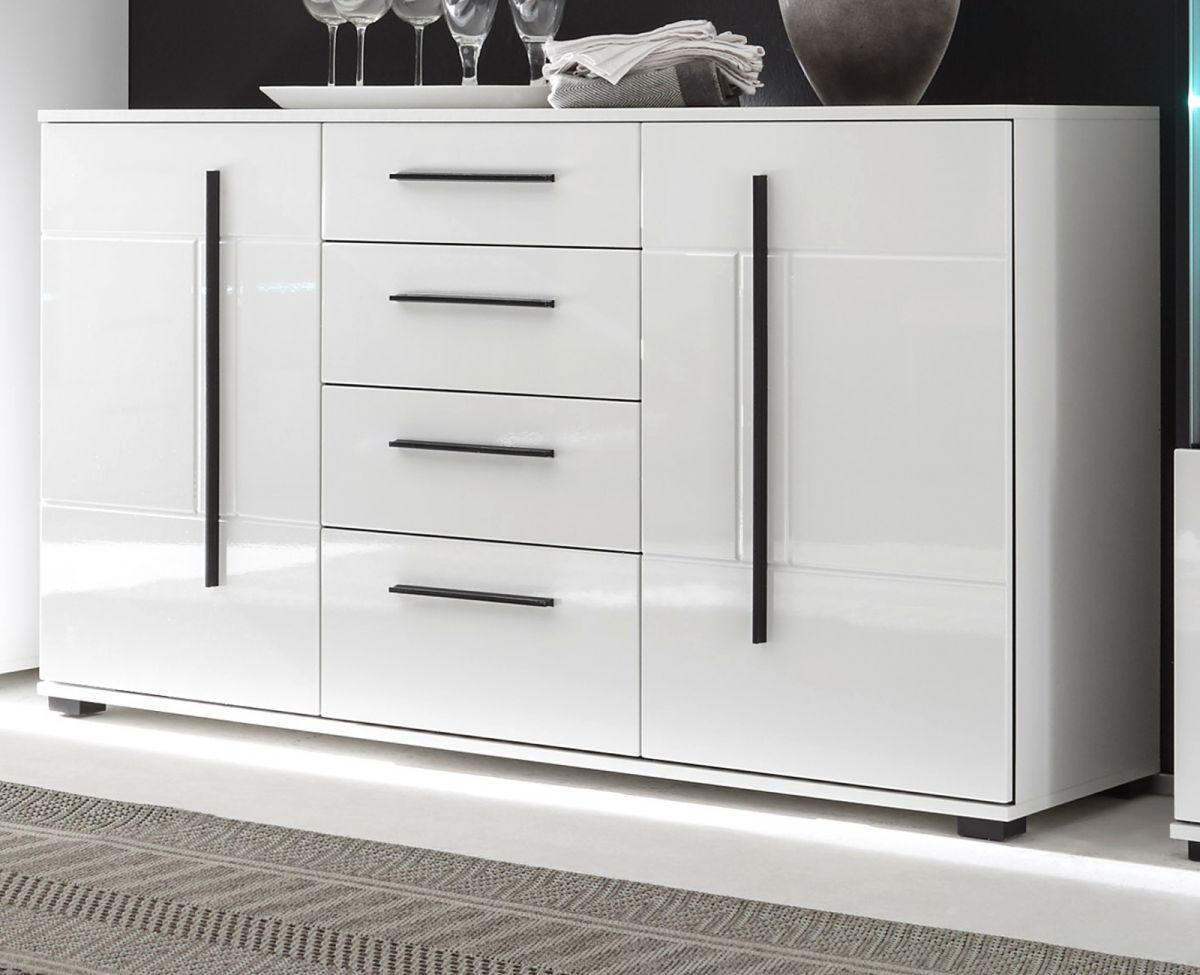 Sideboard Design-D in Hochglanz weiss 150 x 86 cm