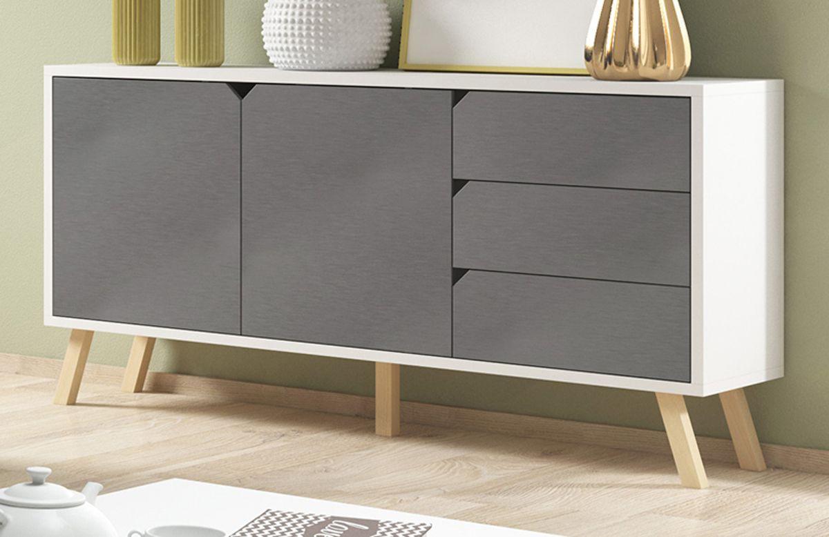 Sideboard Edos in grau und weiss 160 x 80 cm