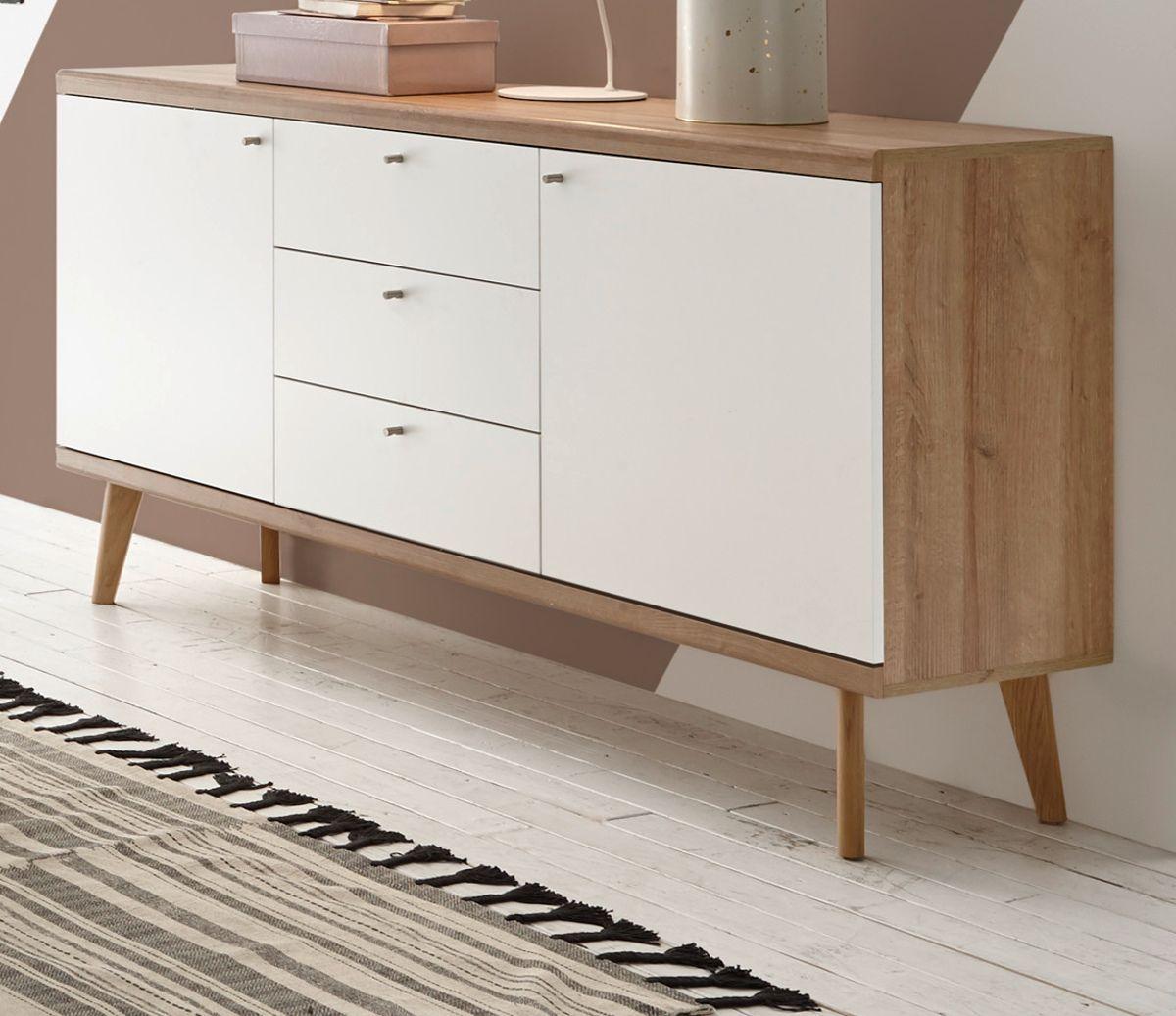 Sideboard Helge in weiss und Eiche Riviera 160 x 83 cm