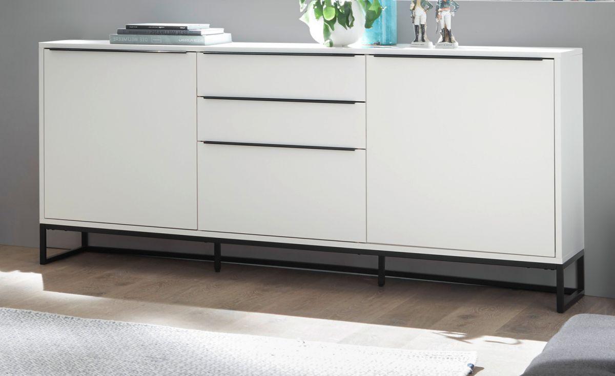 Sideboard Lille in weiss und schwarz 184 x 85 cm