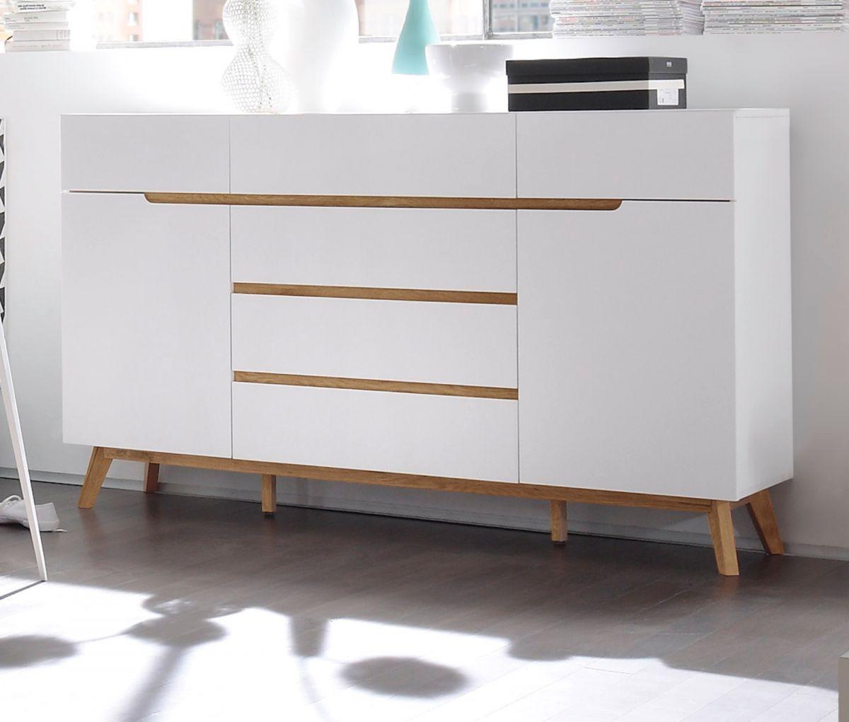 Sideboard matt weiss Lack und Asteiche 169 cm