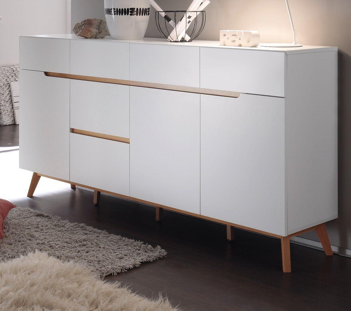 Sideboard matt weiss Lack und Asteiche 193 cm