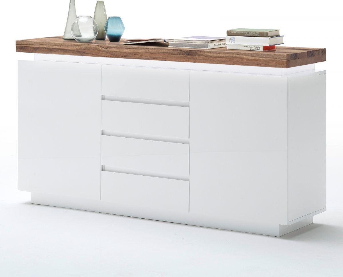 Sideboard matt weiss und Eiche massiv 150 cm