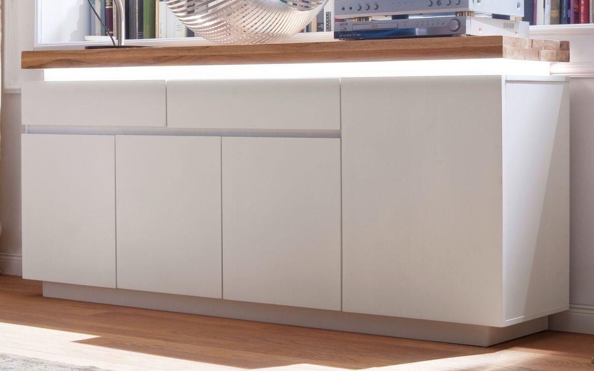Sideboard matt weiss und Eiche massiv 175 cm
