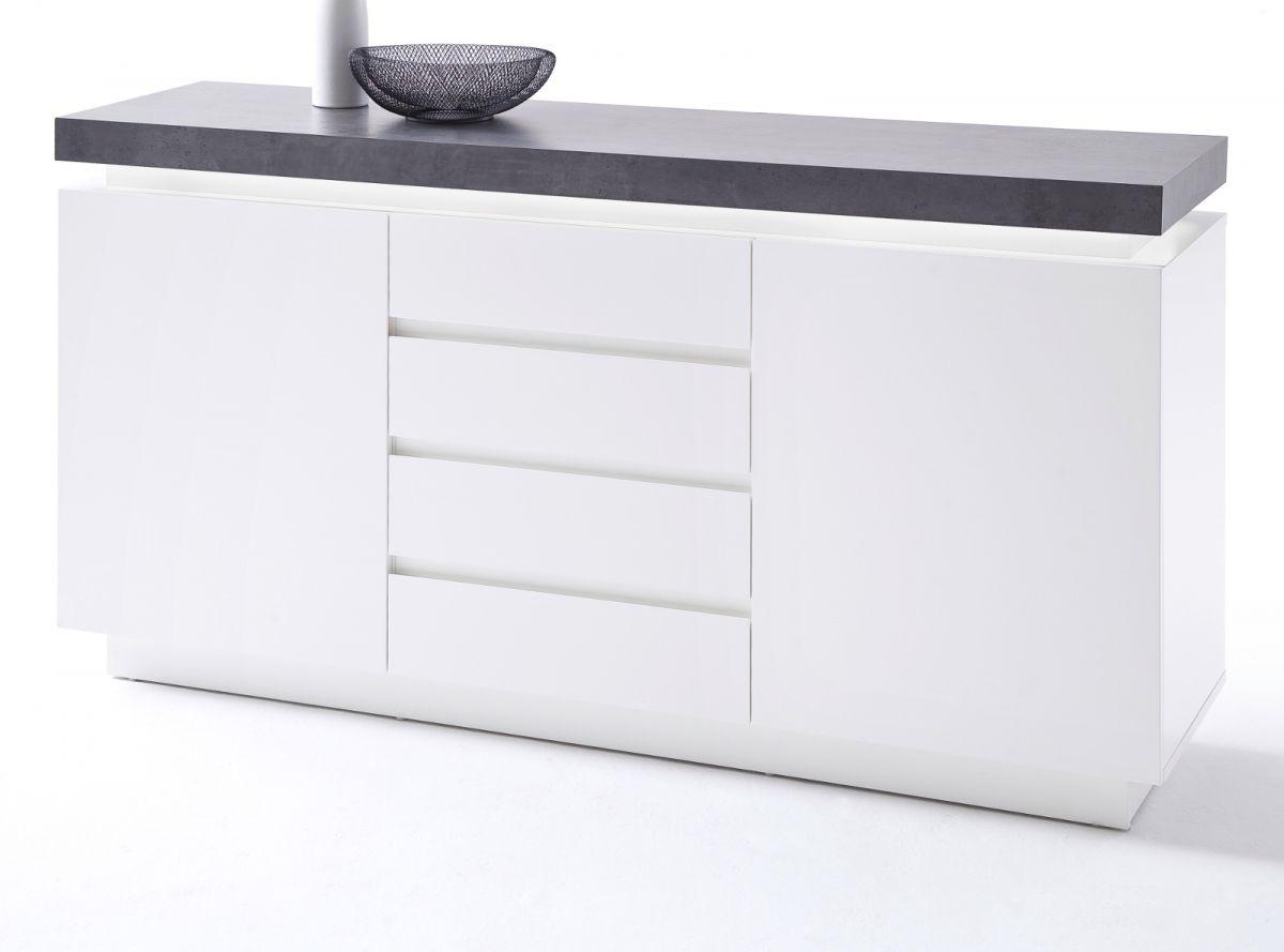 Sideboard matt weiss und Stone Design 150 cm