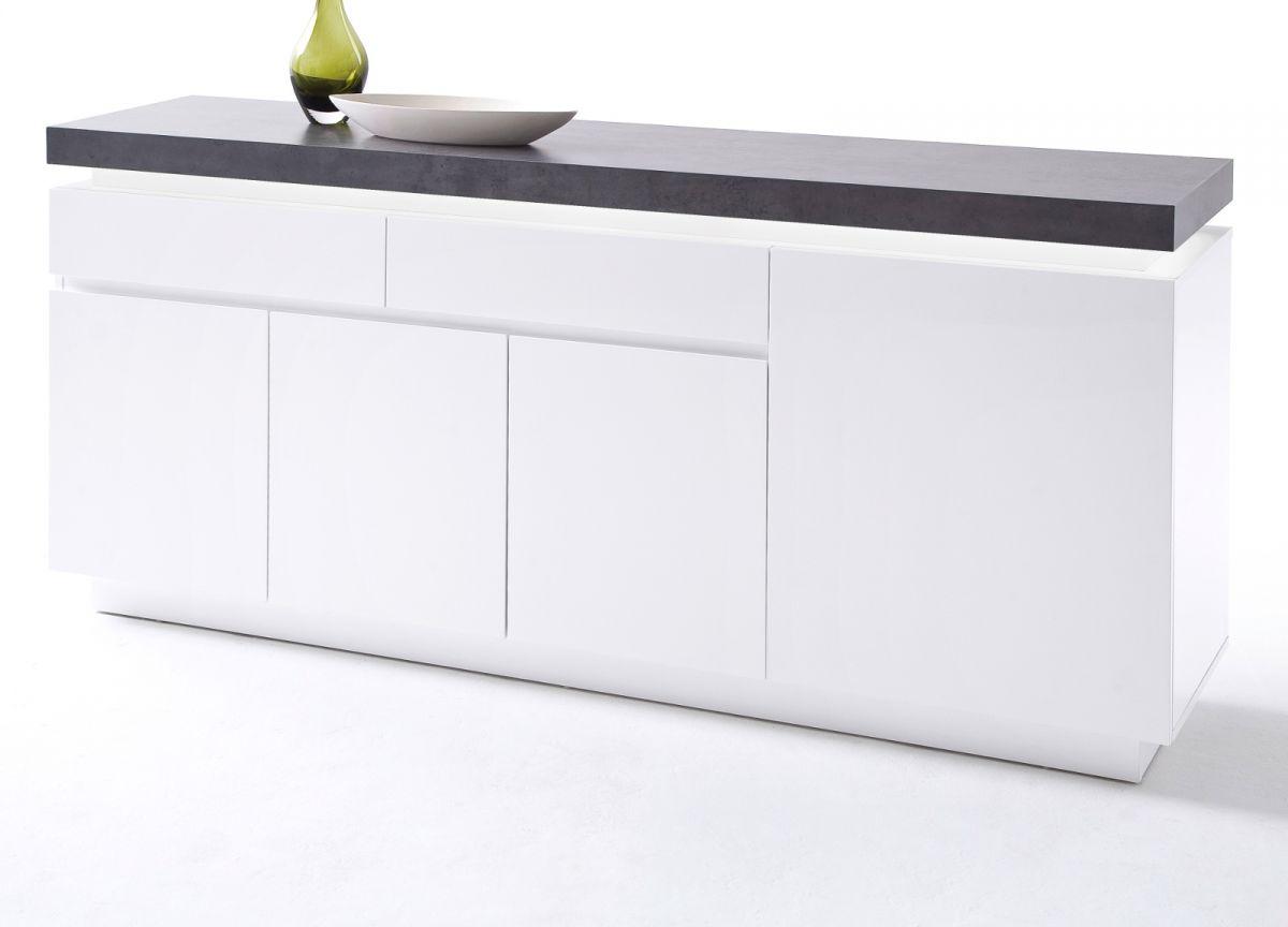 Sideboard matt weiss und Stone Design 175 cm