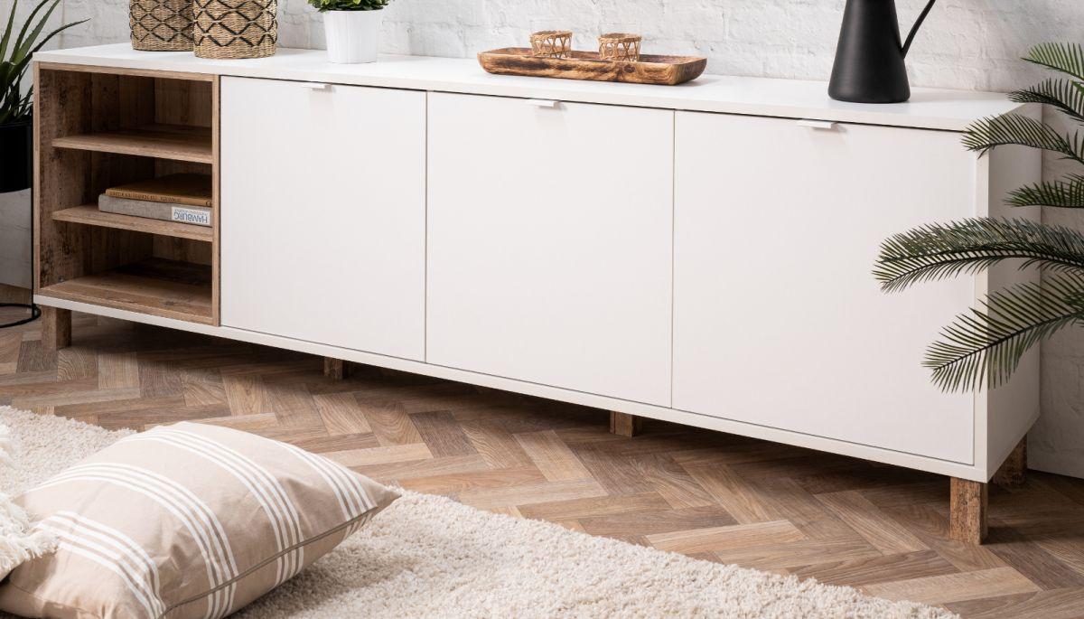 Sideboard Menorca weiss und Used Wood Shabby hell 200 cm