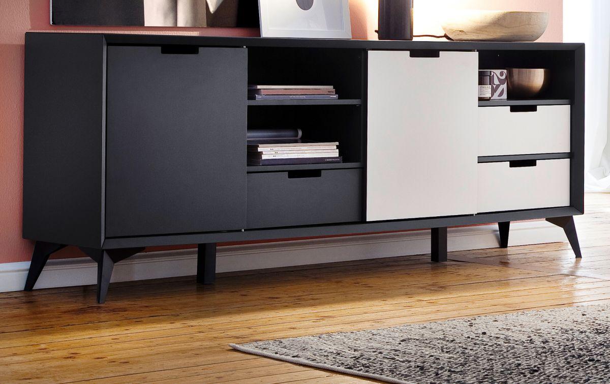 Sideboard Netanja in weiss und grau mit Wechselfronten 180 x 73 cm