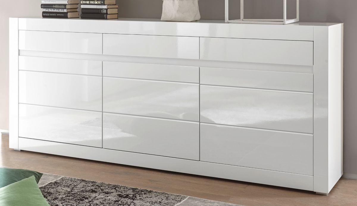 Sideboard Nobile in Hochglanz weiss - Stone Design grau 217 x 90 cm