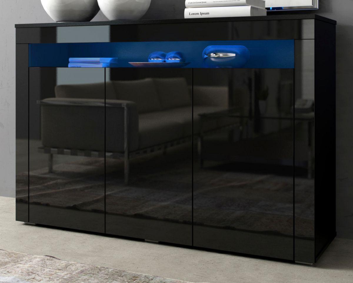 Sideboard Sally Hochglanz schwarz 130 cm