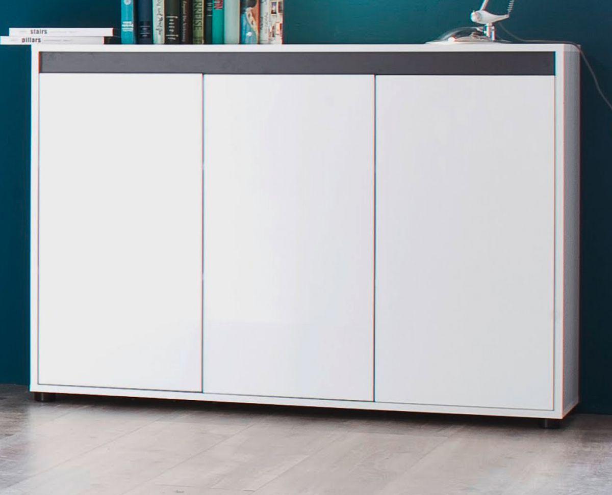 Sideboard Sol Lack weiss Hochglanz und grau Anrichte 119 x 84 cm 3-türig