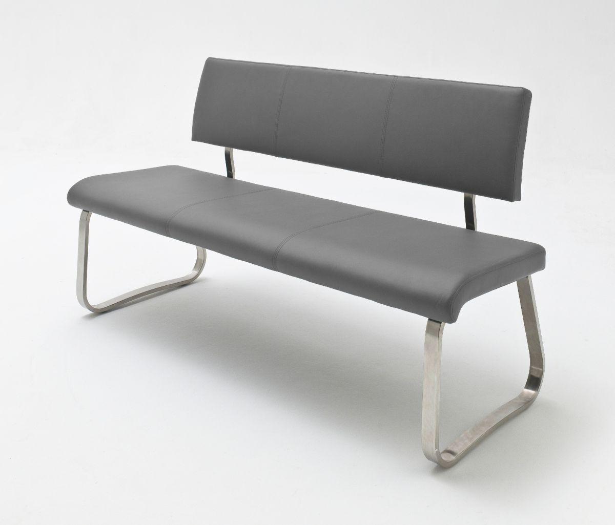 Sitzbank Arco Grau Kunstleder 155 cm