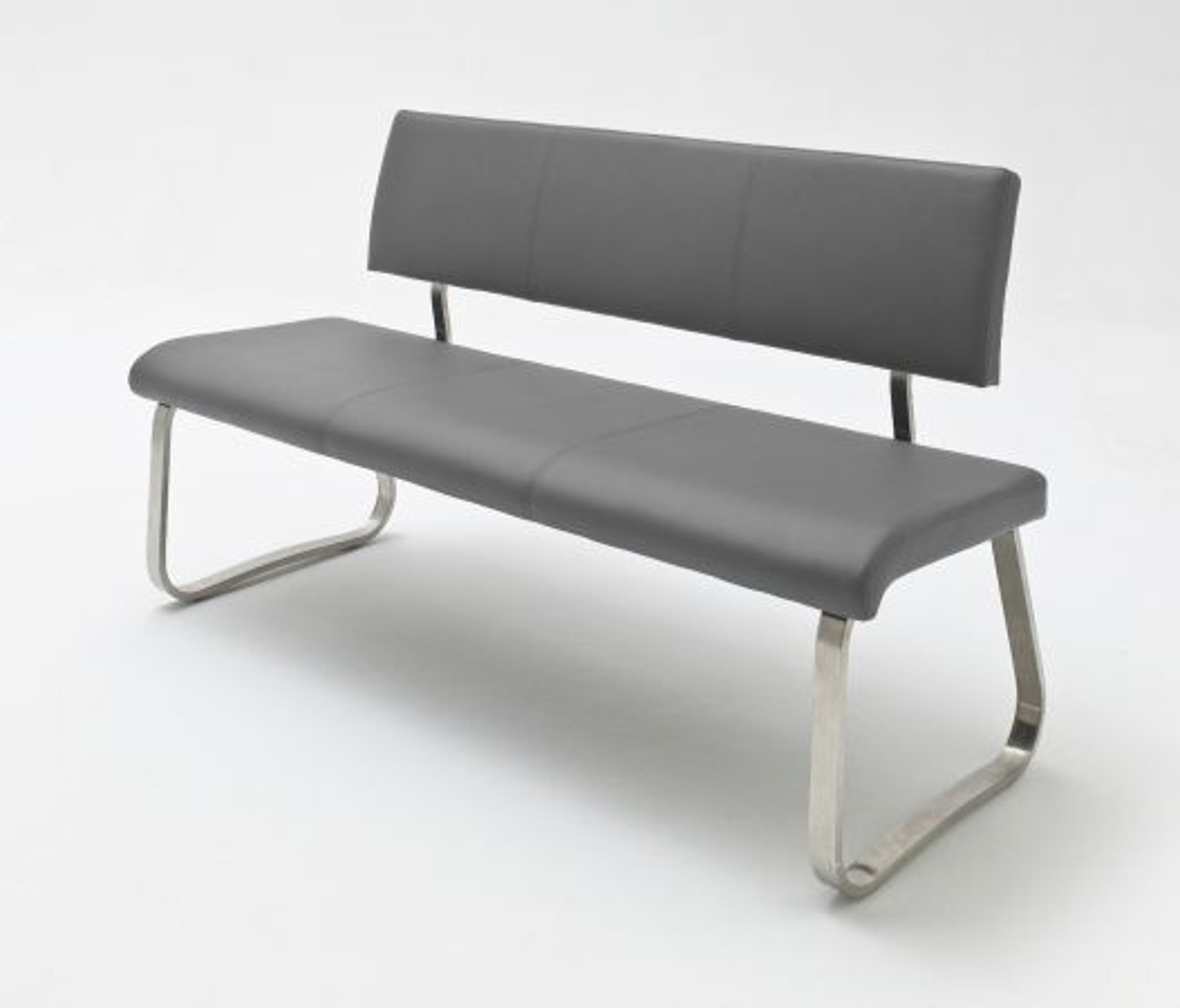 Sitzbank Arco Grau Leder 155 cm