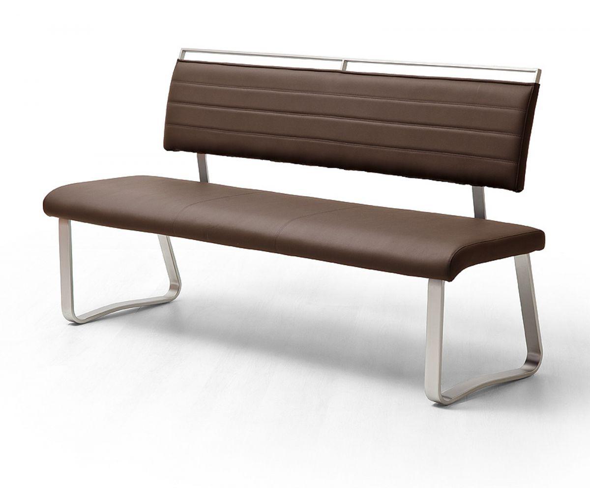 Sitzbank Pescara Braun Kunstleder 155 cm