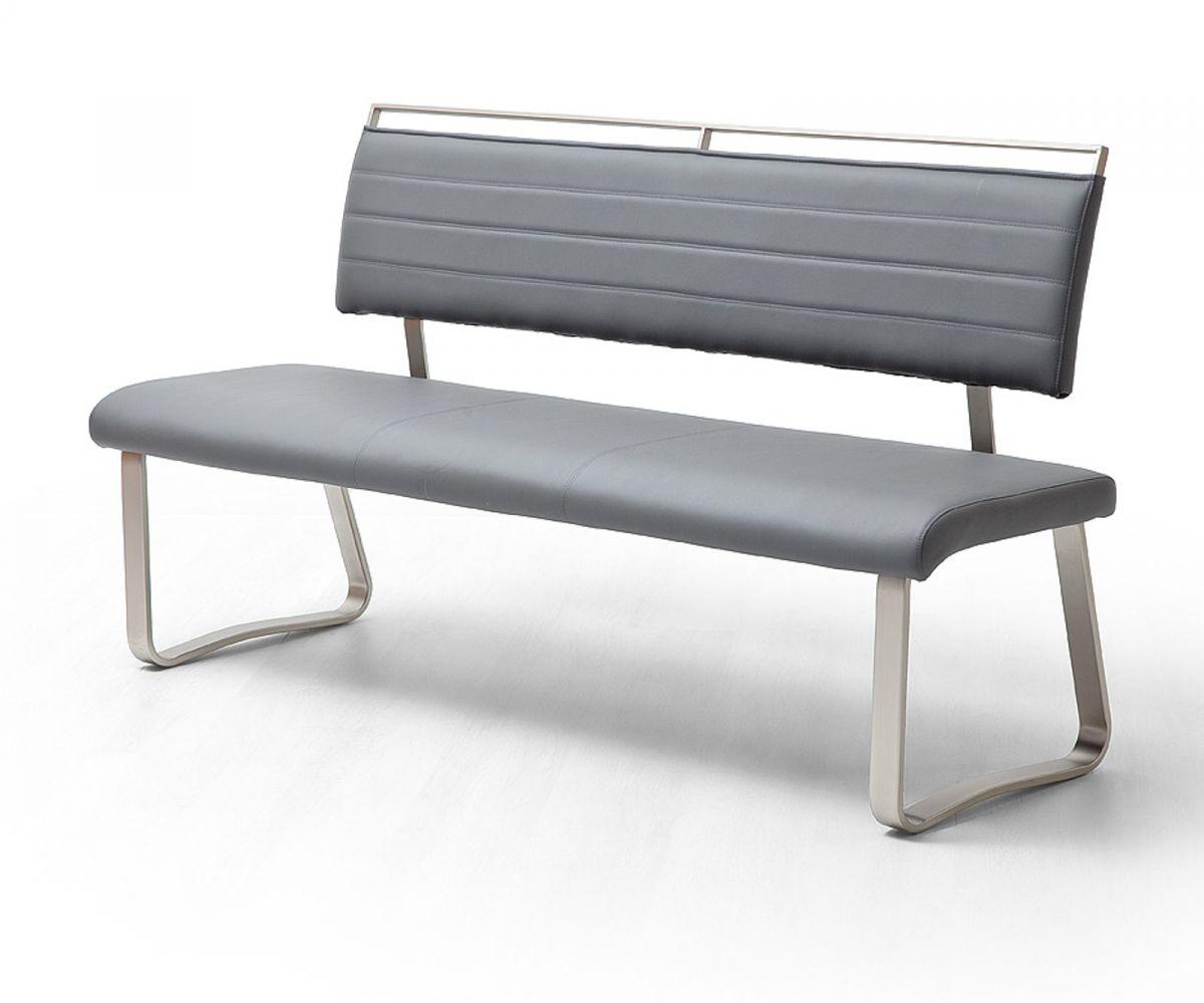 Sitzbank Pescara Grau Kunstleder 155 cm