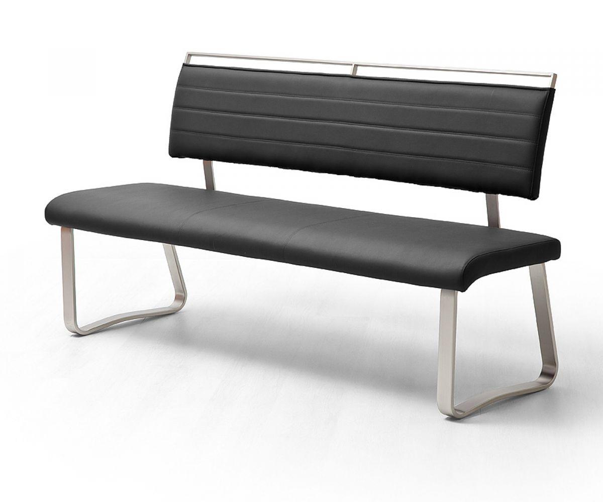 Sitzbank Pescara Schwarz Kunstleder 155 cm