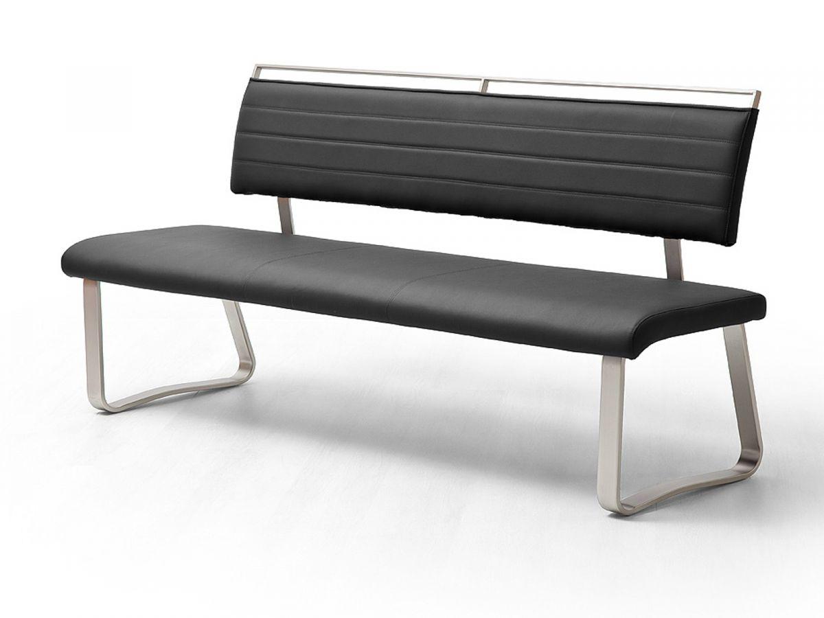 Sitzbank Pescara Schwarz Kunstleder 175 cm