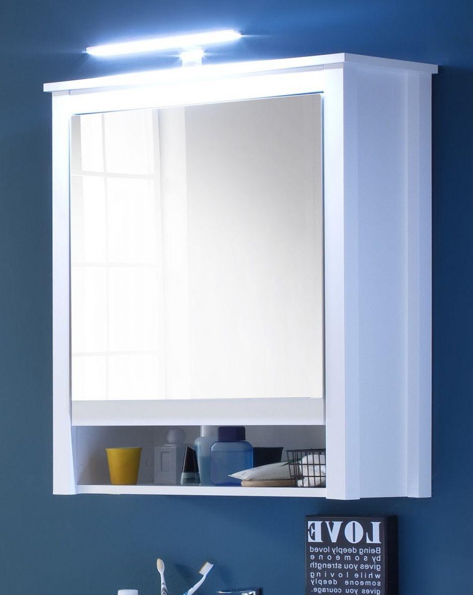 Spiegelschrank Badmöbel Ole weiss inkl- LED Spiegellampe 62 x 80 cm