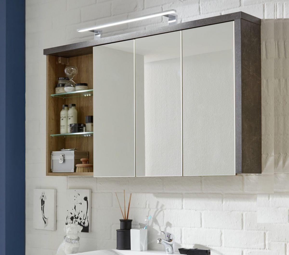 Spiegelschrank Bay 3-türig Eiche Riviera Honig und grau Beton Design 123 cm