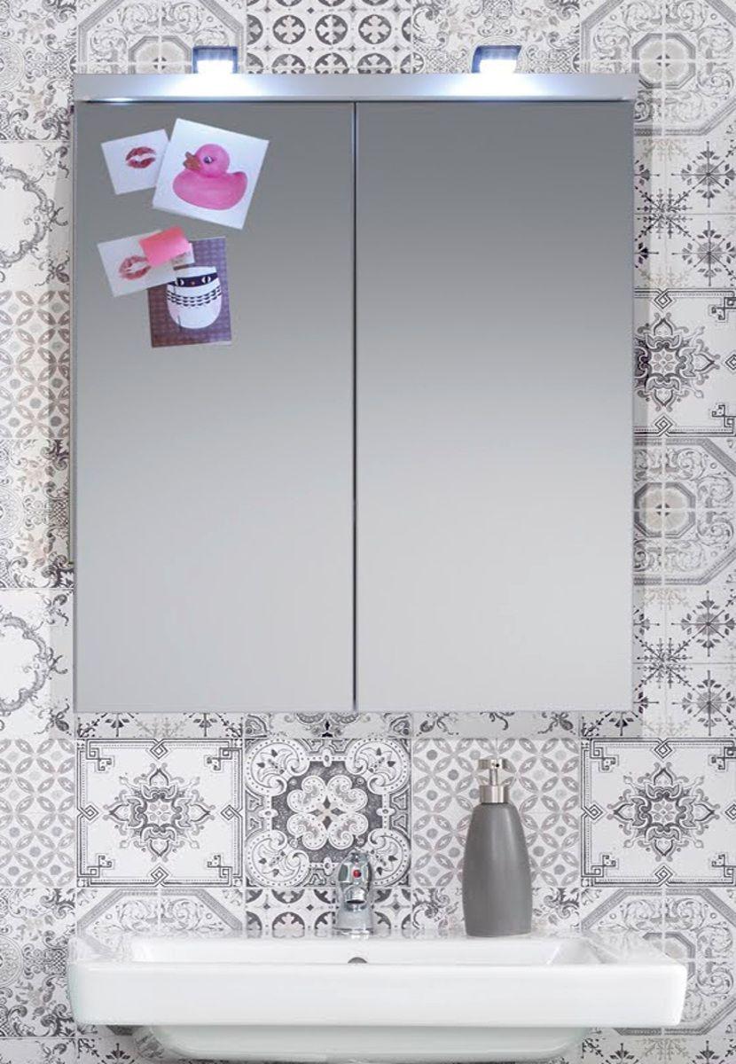 Spiegelschrank SetOne Hochglanz weiss 2-türig 65 x 80 cm