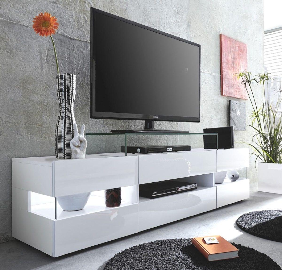 TV Hifi Lowboard Sonic weiss Glanz TV-Tisch in 170 x 43 cm (70) TV-Tisch mit Panoramaglas
