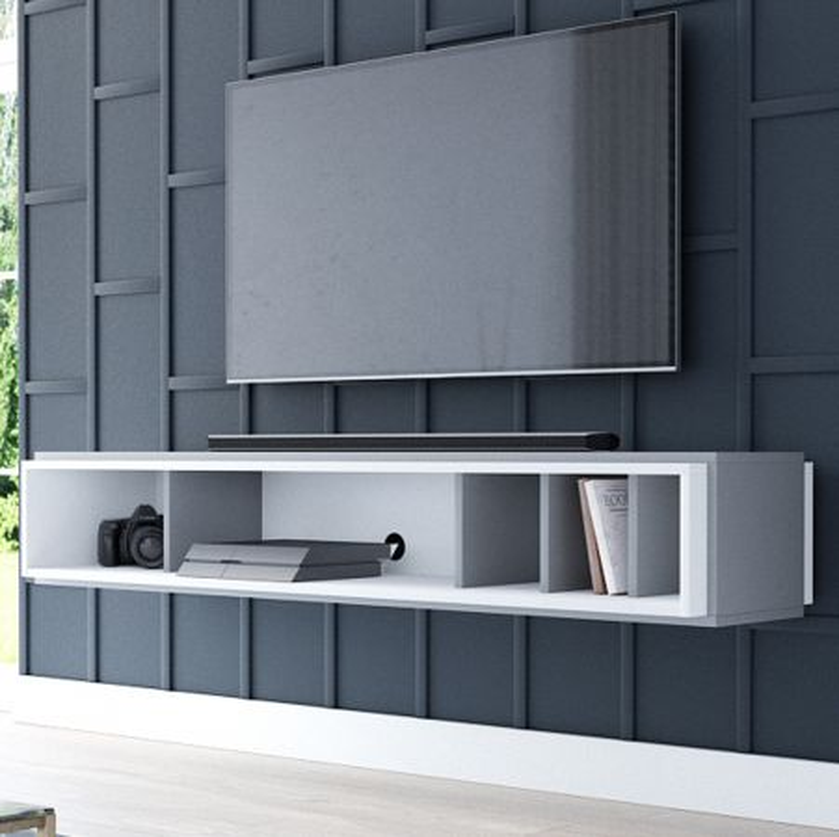 TV-Lowboard Amari in anthrazit und weiss hängend 153 cm