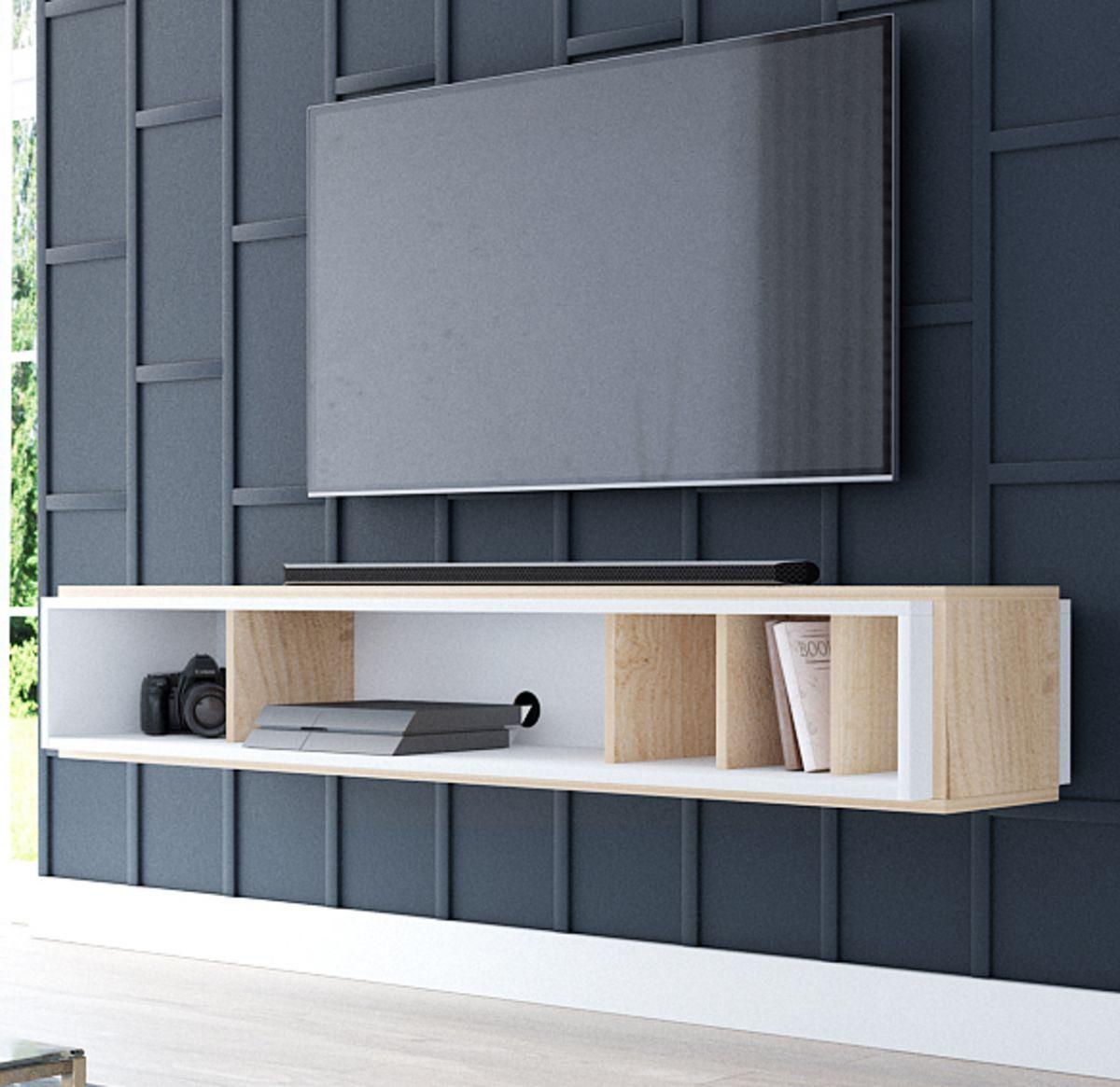 TV-Lowboard Amari in Eiche Gold und weiss hängend 153 cm