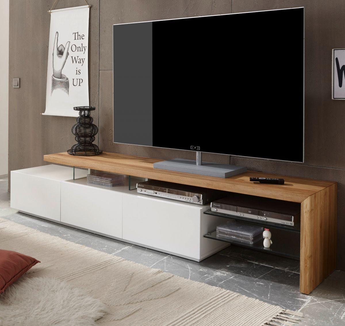 TV-Lowboard Asteiche massiv und matt weiss 204 cm