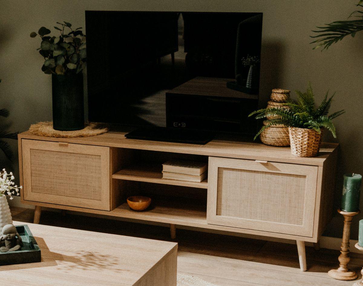 TV-Lowboard Bali Sonoma Eiche mit Bast - Dekor 150 cm