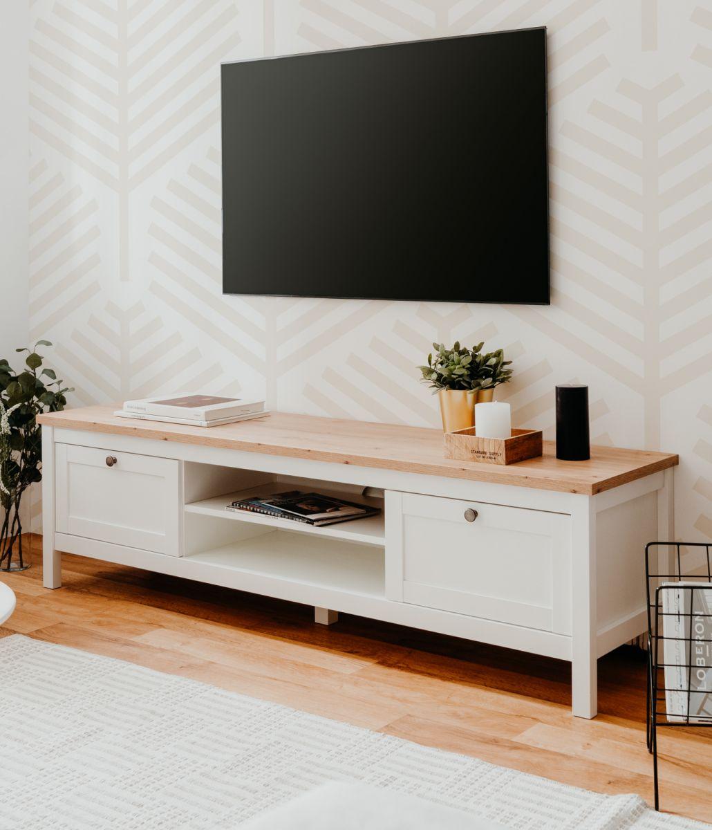 TV-Lowboard Bergen weiss und Eiche 160 x 45 cm