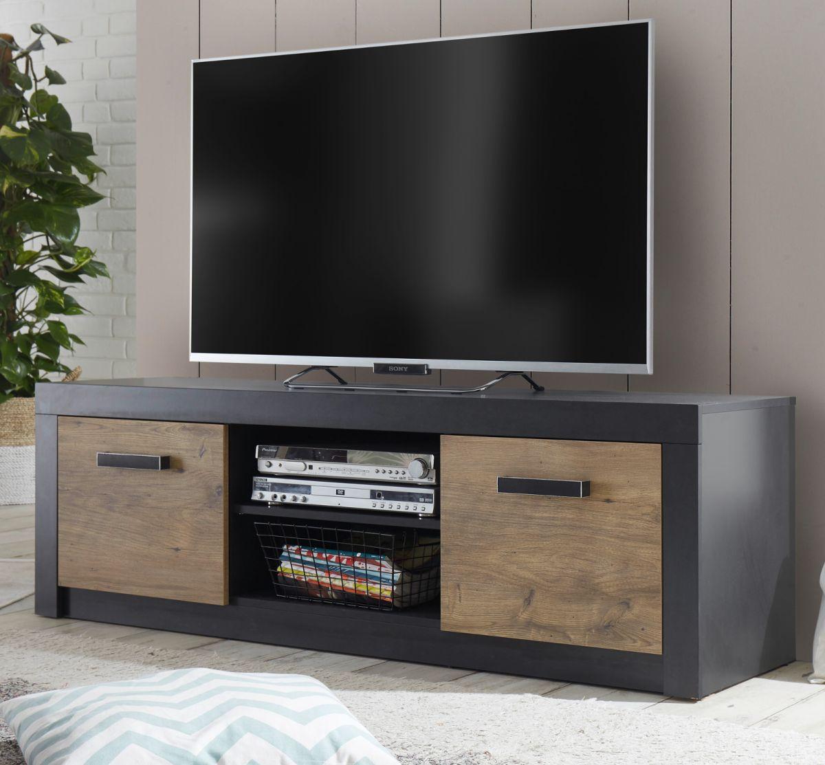 TV-Lowboard Beveren in Kastanie und Fresco grau 153 x 49 cm