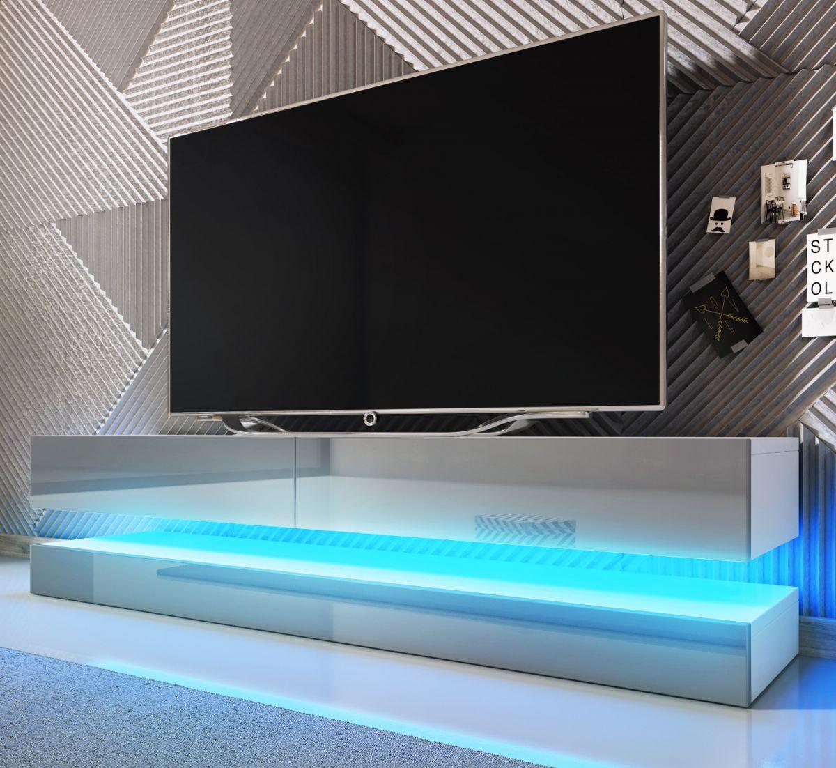 TV-Lowboard Bird Hochglanz grau mit Beleuchtung 140 cm