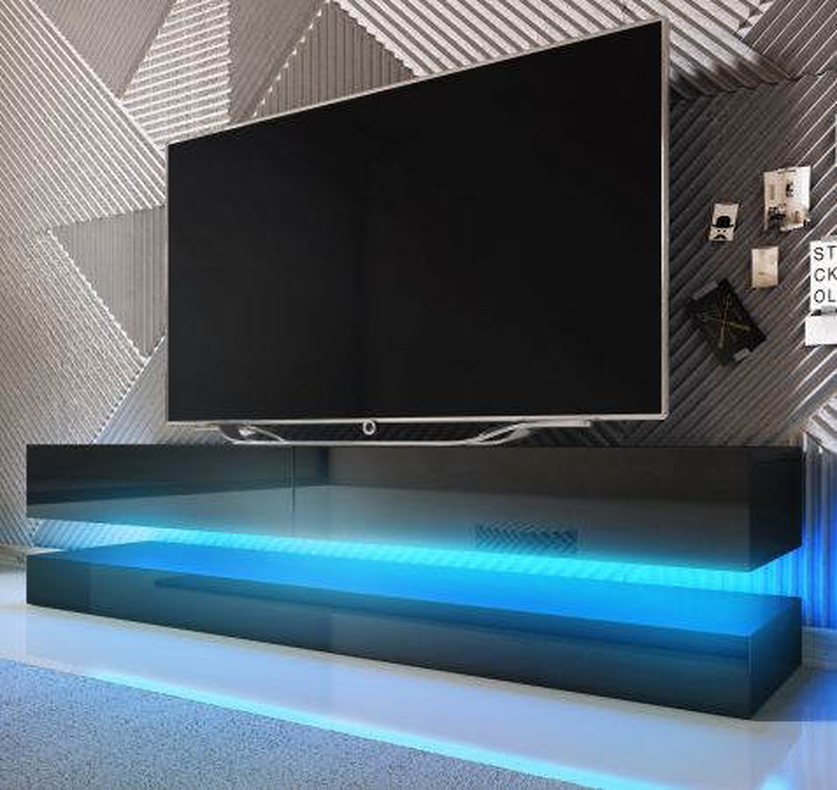 TV-Lowboard Bird Hochglanz schwarz mit Beleuchtung 140 cm