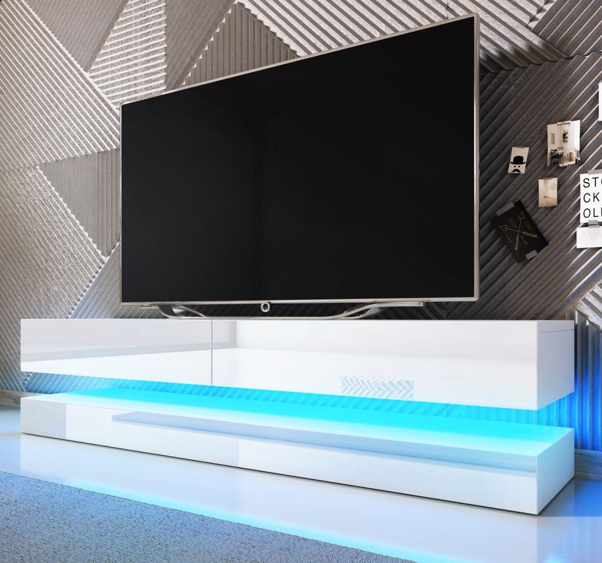 TV-Lowboard Bird Hochglanz weiss mit Beleuchtung 140 cm