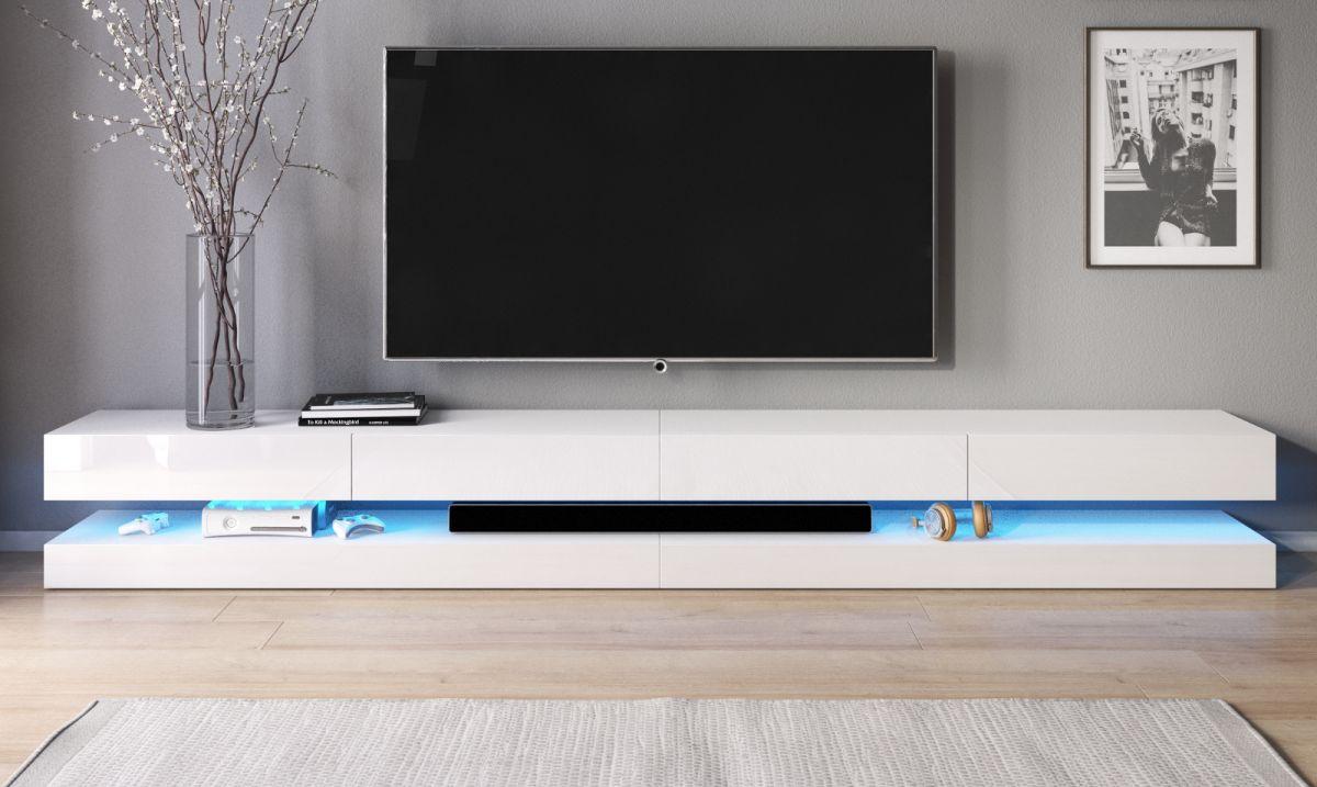 TV-Lowboard Bird Hochglanz weiss mit Beleuchtung 280 cm