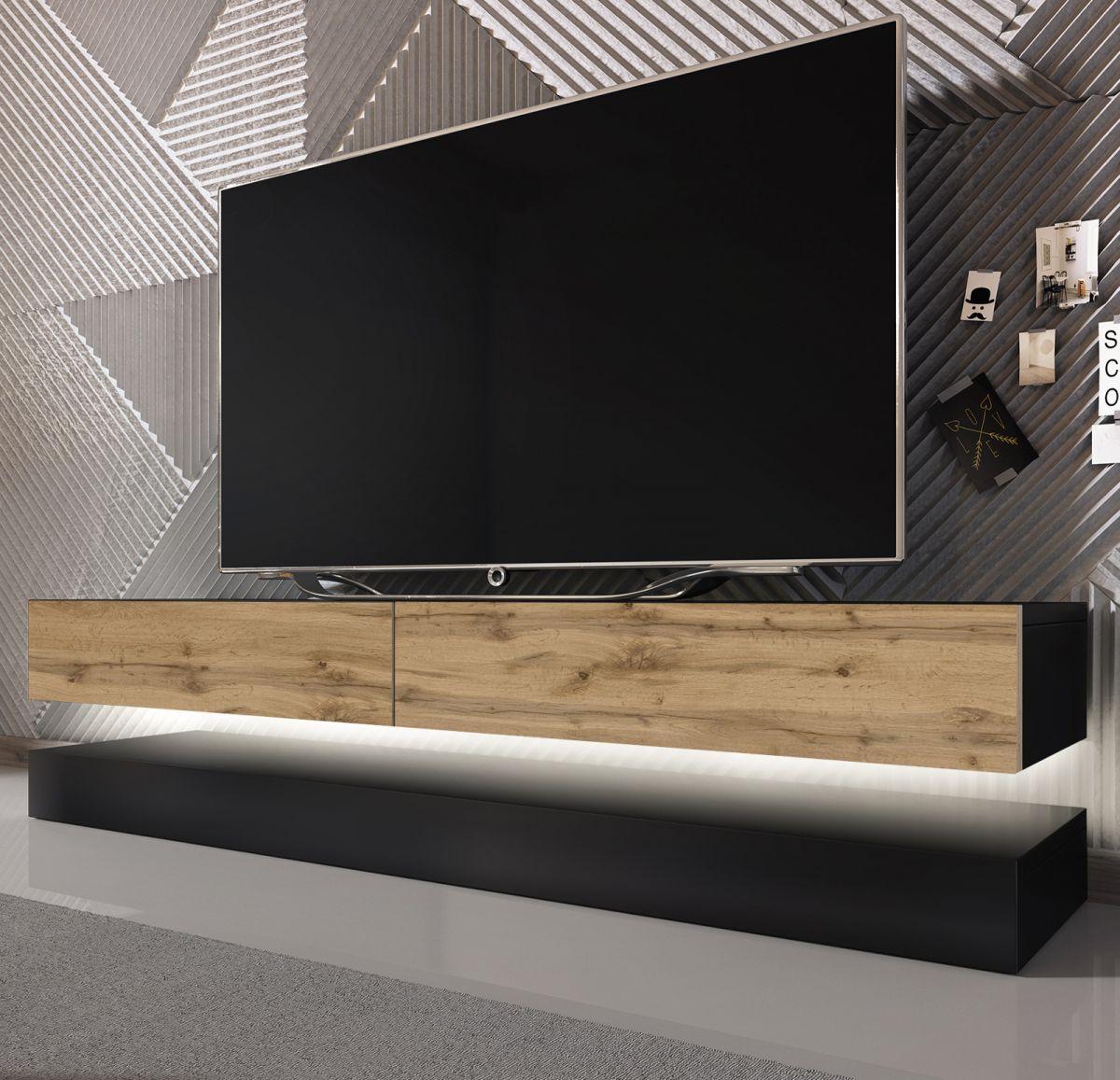 TV-Lowboard Bird schwarz und Wotan Eiche mit Beleuchtung 140 cm