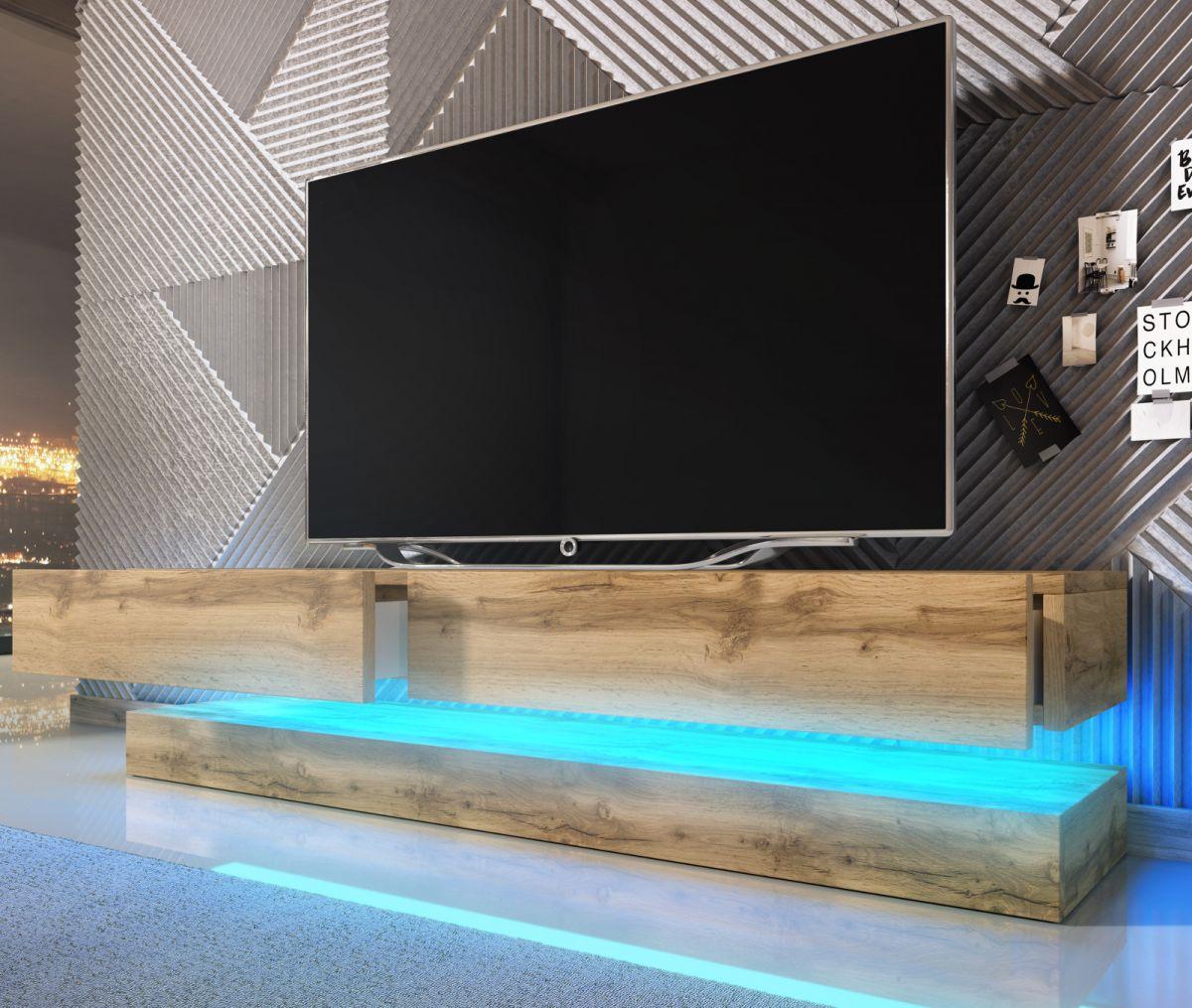 TV-Lowboard Bird Wotan Eiche mit Beleuchtung 140 cm