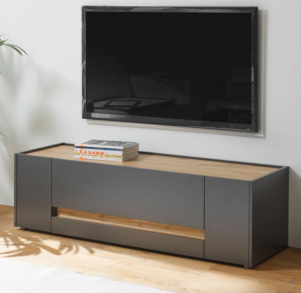 TV-Lowboard Center in grau matt und Eiche Wotan 140 cm