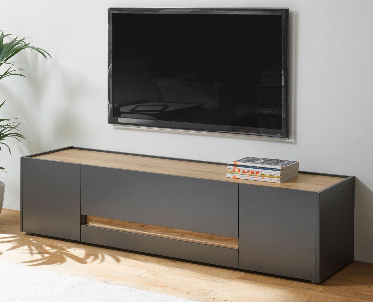 TV-Lowboard Center in grau matt und Eiche Wotan 170 cm